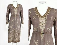 VTG 20s 30s PARISIAN COUTURE BROWN BRONZE METALLIC KNIT EMBROIDERED DRESS RARE S
