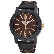 Bvlgari Bvlgari Automatic Brown Dial Brown Leather Mens Watch 102633