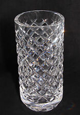 "Waterford Crystal Alana Diamond Cut Pattern Footed 6"" Cylindrical Vase"