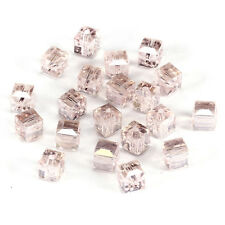 20pcs pink ab 6mm Faceted Square Cube Cut glass crystal Loose Spacer beads