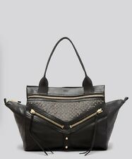 Botkier Large Black Gold Studded Legacy Satchel