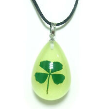 10PCS REAL FOUR LEAF CLOVER GLOW IN DARK FINE  GIFT JEWELY PENDANT&NECKLACE