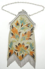 Vintage Mandalian Mfg. Co Enameled Mesh Purse Silver Tone Unlined Chain Fringe