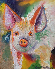 "Pig  8""x10"" oil painting print Frameable Colorful Art Home Decor NEW Artist Nan"