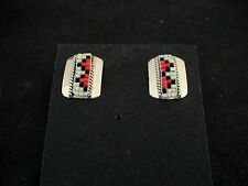 Auth.Native American Indian Navajo Sterling Silver/Hex Beaded Shield Earrings