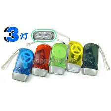 3 LED Dynamo Wind Up Flashlight Hand-pressing Crank NR No Battery Torch     v#h9