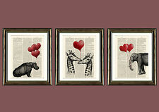 Antique Book page Art Print - Set of 3 Animals with Heart Balloons