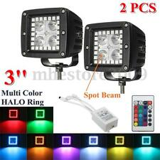 Pair 3'' Inch LED Spot Work Light Bar Pod Cubes Multi Colored RGB HALO Ring Lamp