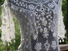 FAB Vtg Antique Edwardian IRISH CROCHET  Handmade White Lace Dress Clones 3-D