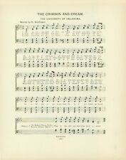 "UNIVERSITY OF OKLAHOMA Antique Song Sheet c1906 ""The Crimson and Cream"""