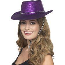 12 x Purple Glitter Hat Cowboy Fancy Dress Women's Hen Do Western Party Cowgirl