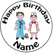"""Docteur en médecine & infirmière personnalisé rond 8"""" icing cake topper-easy pre-cut"""