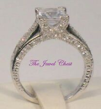 Princess cut Solitaire Diamond Engagement Ring Antique Estate Style White Gold