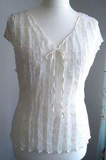 Ladies white velvet embossed satin crinkle Top Blouse Tunic size 18 M&Co exc con