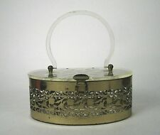 Oval Pill Box Purse Goldcrest Clear Lucite Copper Filigree Metal Warranty Card