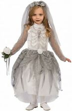 Girls Skeleton Bride Costume Spooky Creepy Scary Ghost Child Size Small 4-6