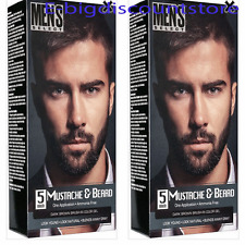 2X Men's Select Mustache & Beard Hair Dark Brown Brush-In Color Dye Gel In 5 Min