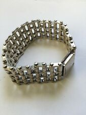 "Mens Double Wide Motorcycle Chain Bracelet Sterling Silver 9"" 925 160 Grams!"