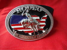 BIG AMERICAN FLAG COWBOY RODEO BUCKING BRONCO BRONC BUCKLE BLACK LEATHER BELT