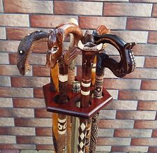 Set of 5 Canes Walking Sticks Wood Wooden Handmade WoodCarving Sale New