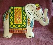 "Vintage Mid Century Colorful Ceramic Elephant Planter trunk up  6"" X 9"""