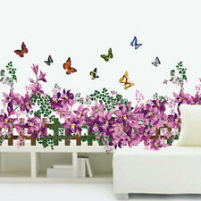Butterfly Fence Flower Baseboard Sticker Wall Decals Removable PVC Decor ii