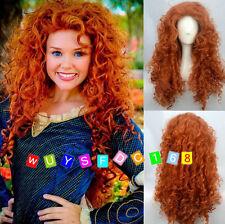 Pixar Animated movie of Brave MERIDA cosplay Long curly orange wig /Wig Hairnet