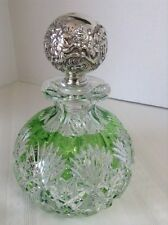 DORFLINGER BULBOUS GREEN TO CLEAR COLOGNE BOTTLE W/ RARE ORNATE STERLING STOPPER