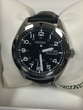 New Seiko SRP715 Automatic Stainless Steel Black Genuine Leather Men's Watch