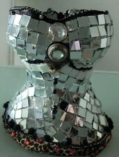 Mosaic Bustier Mannequin adorned with  mirror, beads, fabric,etc.  Handmade