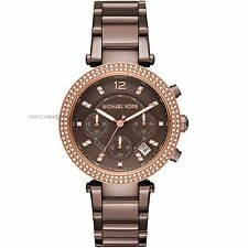 **NEW* LADIES MICHAEL KORS BROWN CRYSTAL PARKER ROSE GOLD WATCH MK6378 -RRP£259