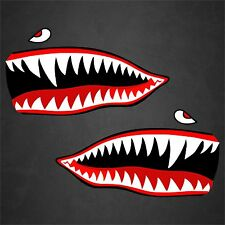 "2 - 7""x13"" Flying Tigers WWII Shark Teeth Stickers Decals Car Truck Aircraft"