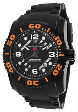 NEW SWISS LEGEND MEN'S COMMANDER PRO DIVE WATCH BLACK DIAL WITH ORANGE ACCENTS