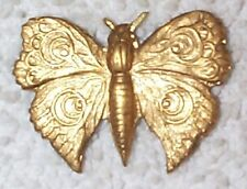 VINTAGE DETAILED ENGRAVED SURFACE BRASS BUTTERFLY STAMPINGS 8 PCS