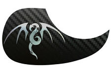 Tribal Dragon Acoustic Guitar Black Carbon Pickguard Scratchplate, Chrome