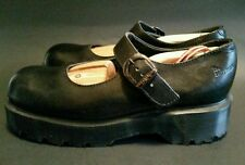 DR DOC MARTENS BLACK LEATHER BUCKLE STRAP CHUNKY MARY JANE SHOES SIZE UK8 US10