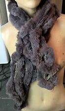 grey genuine real rabbit fur wavy scarf neck warmer collar shawl stole