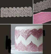 Pink Lace Heart Silicone Mold Sugarcraft Fondant Cake Decorating Baking Tool Pad