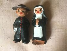 Unusual and Quirky Miniature Ceramic Figures of a Priest & Nun Painted Detail