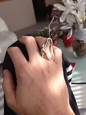 Unique free form type Heart Shaped Sterling Silver Ring, size 6, 26 g, Free ship