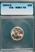 1944-D Icg Ms67 Full Band Mercury Dime! #A1181