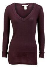 New Women ladies gorgeous knitted burgundy v neck jumper top size 16