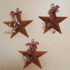"DLCC~3 PCS PRIMITIVE RUSTIC 5.5"" metal tin barn stars with pips homespun rust"