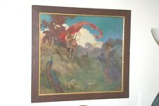 VINTAGE FANTASY O/B SIGNED F.J.M. NUDE W/LYRE LANDSCAPE PEACOCK CHEETAHS MAIDENS