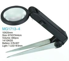 10x Tweezer Magnifier With LED Light Portable Magnifying Glass with Tweezer