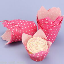 Tulip Muffin Wraps In Pink With White Polka Dots - Pack Of 50