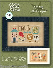 Lizzie Kate Yearbook - March April F159 Counted Cross Stitch Pattern with Charms