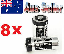 8 x Panasonic CR123A 3V Lithium Battery (PRIMARY - NON RECHARGEABLE) CR DL 123 A