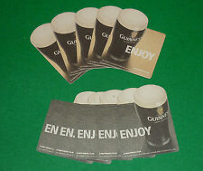 """VINTAGE DOUBLE SIDED GUINNESS """"ENJOY"""" BEER MAT COASTER SET (10) ST JAMES BREWERY"""