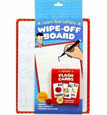 Learn Your Letters Write On Wipe Off Board + Marker Pen + Flash Cards